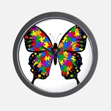 autismbutterfly-transp Wall Clock