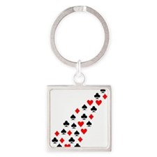 flying_poker_signs Square Keychain