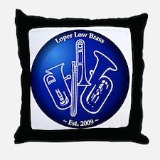 Loper Low Brass Blue Circle Throw Pillow