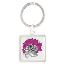 Pink Puck Pig Square Keychain