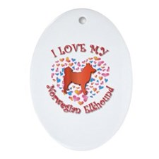 Love Elkhound Oval Ornament