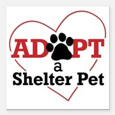 "Adopt a Shelter Pet Square Car Magnet 3"" x 3"""