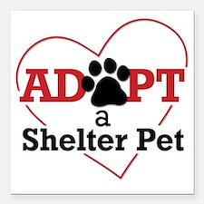"Adopt a Shelter Pet Square Car Magnet 3"" x 3"""