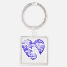 love_you_mom_blue Square Keychain