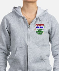 Cute Fun Just Turned One Button Zip Hoodie