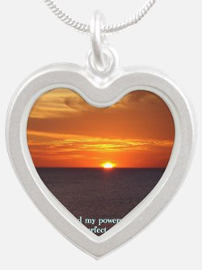 2 Samuel 22-33  Sunset Silver Heart Necklace