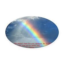 Jeremiah 29-11 Rainbow Oval Car Magnet