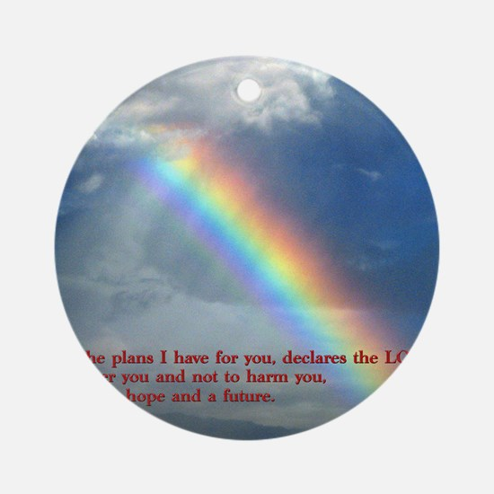 Jeremiah 29-11 Rainbow Round Ornament