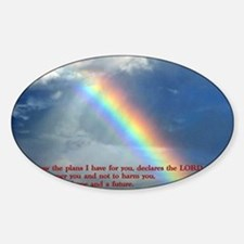 Jeremiah 29-11 Rainbow Sticker (Oval)