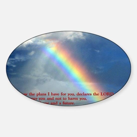 Jeremiah 29-11 Rainbow Sticker (Oval)