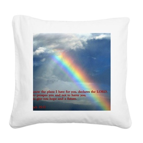 Jeremiah 29-11 Rainbow Square Canvas Pillow