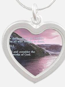 Job 37-14  Sunrise Silver Heart Necklace