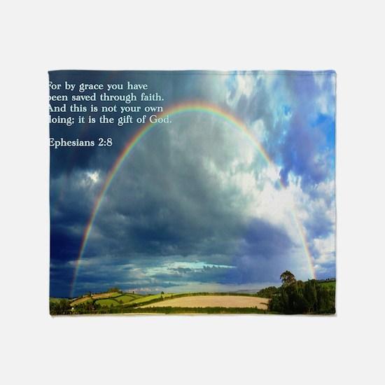 Ephesians 2-8  Rainbow Throw Blanket