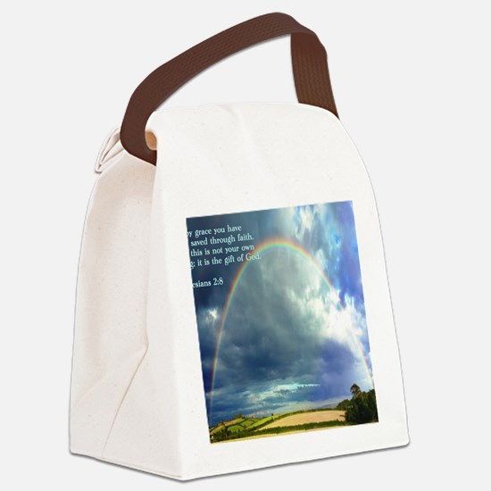 Ephesians 2-8  Rainbow Canvas Lunch Bag