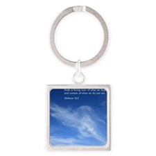 Hebrew 11-1  Clouds Square Keychain