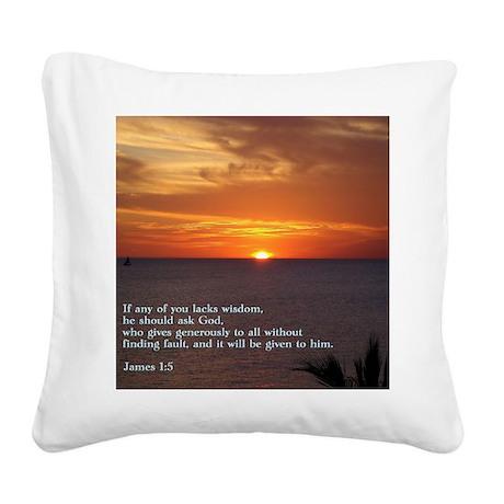 James 1-5 Sunset Square Canvas Pillow