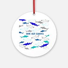 shark collage Round Ornament