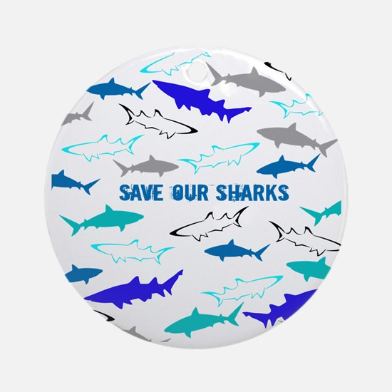 shark collage Round Ornament