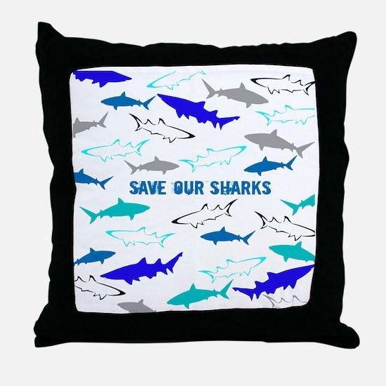 shark collage Throw Pillow