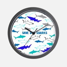 shark collage Wall Clock