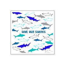 "shark collage Square Sticker 3"" x 3"""