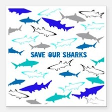 """shark collage Square Car Magnet 3"""" x 3"""""""
