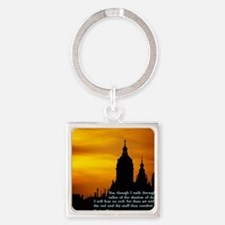 Psalm 23-4  Church Square Keychain