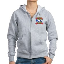 Todays My 70th Birthday Button Zip Hoodie