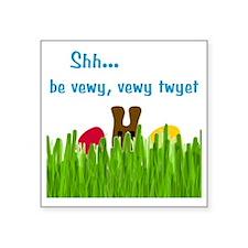 "bunny-head-C1-Transp Square Sticker 3"" x 3"""