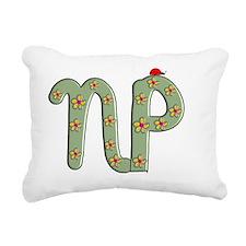 NP green flowers ladybug Rectangular Canvas Pillow