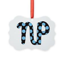 NP blue black polka Ornament