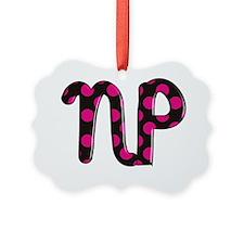 NP black pink polka Ornament