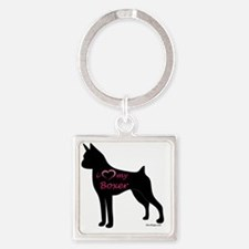 HeartMyBoxer Square Keychain