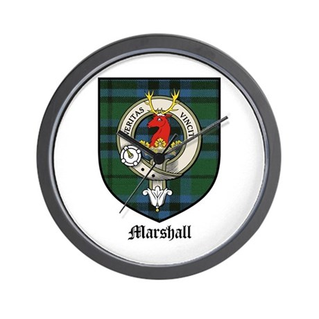 Marshall Clan Crest Tartan Wall Clock