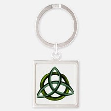 Triquetra Green Square Keychain