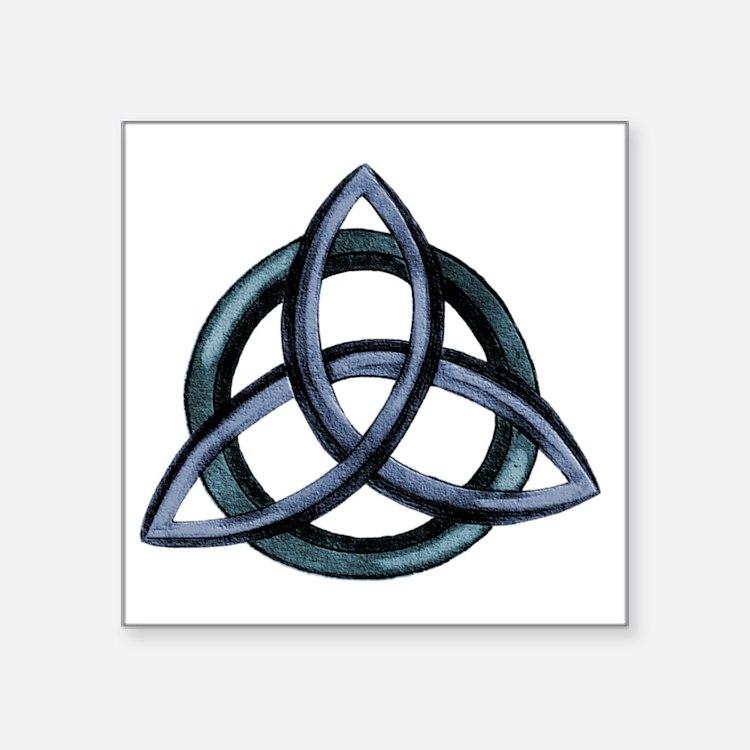 """Triquetra Blue Square Sticker 3"""" x 3"""""""