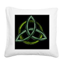 Triquetra Green Square Canvas Pillow