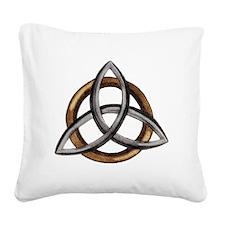 Triquetra Brown/Silver Square Canvas Pillow