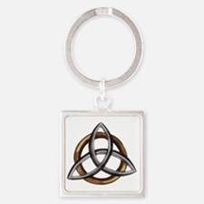 Triquetra Brown/Silver Square Keychain