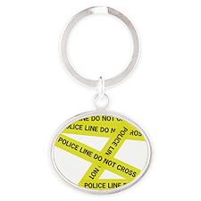Police Line Do Not Cross Oval Keychain