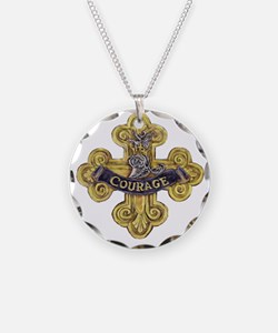 courage Necklace Circle Charm