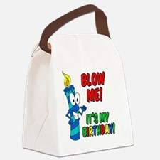 Blow Me Its My Birthday Button Canvas Lunch Bag