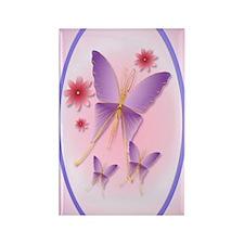 OvalJewel2Soft Purple Butterfly Rectangle Magnet