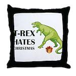 T-Rex hates Christmas Throw Pillow