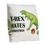 T-Rex hates Christmas Burlap Throw Pillow
