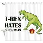 T-Rex hates Christmas Shower Curtain