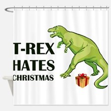 T-Rex hates Christmas Shower Curtain