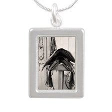 Western Saddle Silver Portrait Necklace