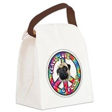 Peace Love Pug Canvas Lunch Bag