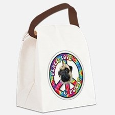 Peace Love Pug Canvas Lunch Bag